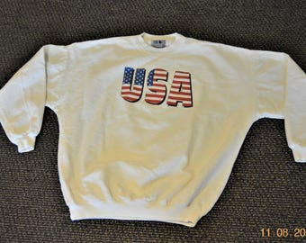 """Sale 80's OG Sweatshirt,Oversized,Men's  XL,By Time Out,Made in USA,Great condition,up to 56"""" to 59"""" chest,Patriotic, American Flag"""