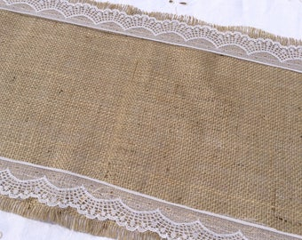 1.5m Hessian Table Runner with Vintage Style White Lace