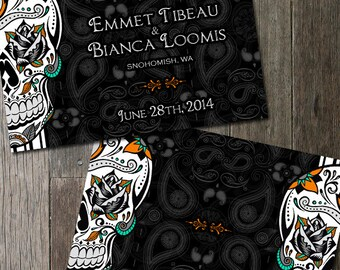 Sugar Skull WeddingSave the Date Black And White Fancy Sugar Skull Day of the Dead Dia De Los Muertos Wedding Announcement