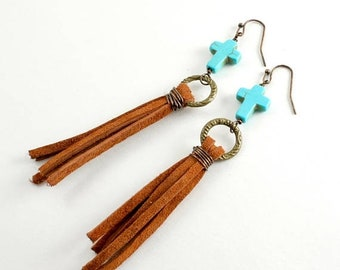 20%OFF SALE Boho Turquoise and Suede Tassel Earrings, Tassel Earrings, Cross Earrings, Turquoise Earrings