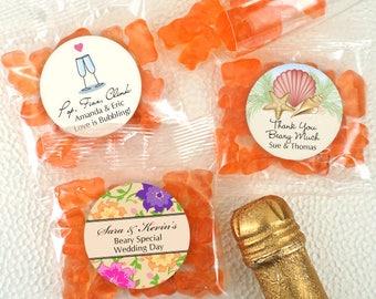 Champagne Gummy Bears, Wedding Favor Gummy Bears, Personalized - Set of 20
