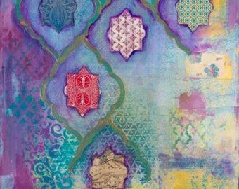 "Fine Art Print, 'Atlantis' 12x18""  Moroccan art, Spiritual art, Whimsical art, Atlantis theme art, Fine art print for woman, Mixed Media art"