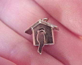 Sweet Little Vintage Sterling Silver Bird House Charm with Little Bird