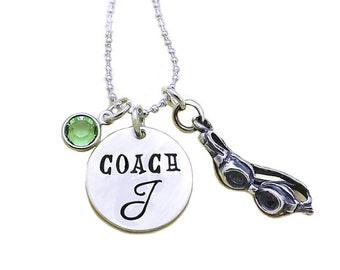 Swim Coach Birthstone Charm Necklace, Swim Coach Necklace, Swim Coach Gift, Female Swim Coach Gift