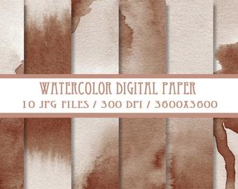 Brown Watercolor Digital Paper ( Instant Download )