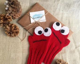 Cookie Monster Gloves, Sesame Street Gloves, Fingerless Gloves, Winter Fashion, Girls Women, Arm Warmers, Red Mitten, Mother's Days Gift,
