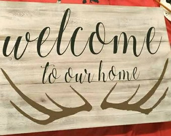 "Rustic "" Welcome to our home"" deer antlers wood love sign family house living room bedroom"