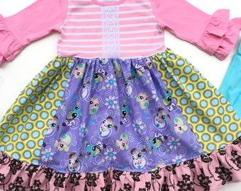Girls Little Pet Shop birthday dress Littlest Pet shop toddler birthday party dress pink purple gift boutique custom dress