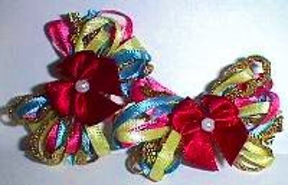 Puppy Bows ~ Wild and flirty dog grooming bows for any long haired dog. Barrettes attached.