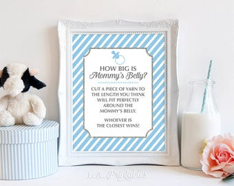 How Big is Mommy's Belly Sign, Light Blue Stripe Baby Shower Game Sign, Baby Boy Game, DIY Printable, INSTANT DOWNLOAD
