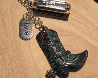 Dwight Yoakam inspired harmonica boot necklace