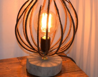 Upcycled Wrought Iron Barbed Globe Light – Orb / Sphere Lamp
