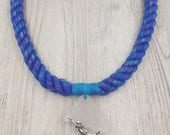 Blue Glitter Rope Necklace with Maine Sea Glass and Silver Mermaid