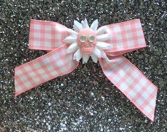 Sale - Sugar Skull Baby Gingham Hair Bow - Pink - Rockabilly - Pinup Girl - One of a kind