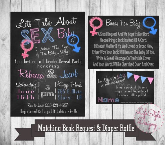 Gender Reveal Invitation Lets Talk About Sex Baby Pink or