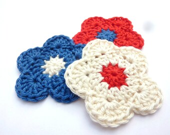 Set of 3 flowers blue white and Red crocheted
