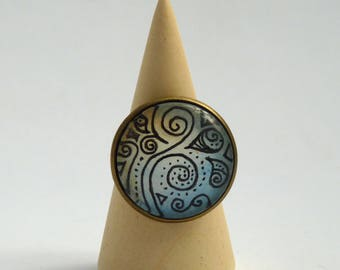 Abstract ring, original hand-painted ring, glass lens ring, landscape ring, Wear a painting!