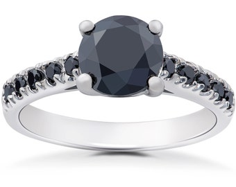 Black Diamond Engagement Ring, Black Diamond Ring, Diamond Engagement Ring 2 1/4ct Black Diamond Solitaire Accent Engagement Ring White Gold