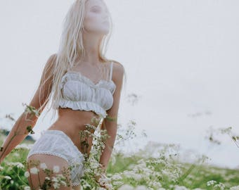 WHIPPED CREAM organic linen lingerie set with crop top bralette and panties