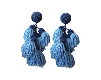 """St. Tropez Blue Tiered Beaded Tassel Earrings; 3.5"""""""