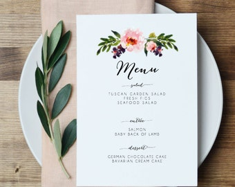 Floral Wedding Menu Printable Wedding Menu Card Peony rustic