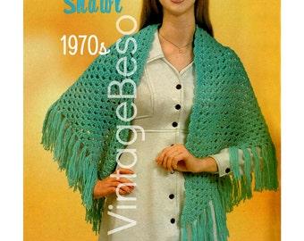 Easy Shawl CROCHET Pattern Vintage 1970s • INSTANT DOWNlOAD • PdF Pattern • Crochet Pattern