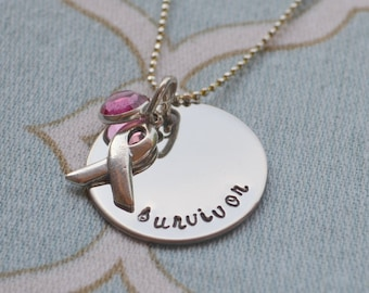 Breast Cancer Survivor Hand Stamped Necklace w/ Ribbon Charm and Pink Crystal - Mom - Grandmother - Best Friend - Sister - Daughter - Wife