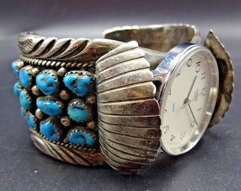 Vintage NAVAJO Sterling Silver & TURQUOISE Cluster Watch Cuff BRACELET 97g