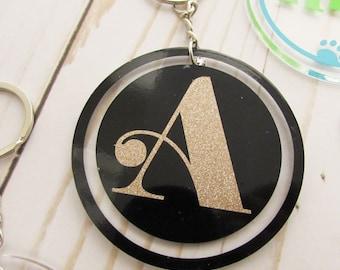Circle Monogram Key chain - Acrylic Key chain - Initial Keychain - Personalized Key chain - Monogrammed Keychain