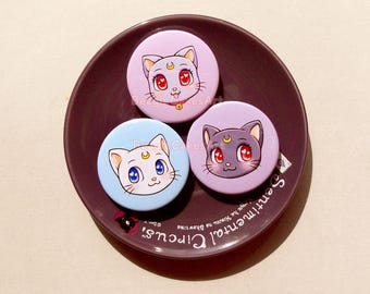 Sailor Moon Cats Pinback Button Set of 3. Sailor Moon Anime Luna, Artemis, Diana. Cute Cat Pin Badges. Anime Brooch Pin. Backpack Accessory.