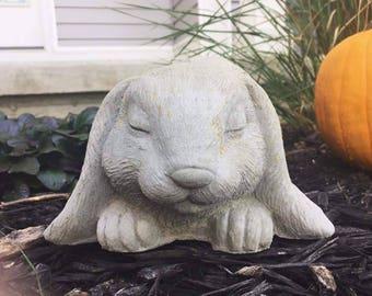 Concrete rabbit garden statue, lop ear bunny rabbit, rabbit statue, bunny statue, garden statue, gift