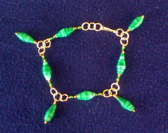 Mint Candy Stripe Bracelet w/ Drops (Handmade Paper Beads, Gold Plated)