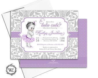 tutu baby shower invitation purple and silver, tutu cute baby shower invite girls, lace polka dots, vintage, printable or printed - WLP00794