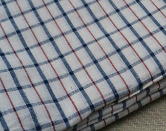 1 yard of Handspun khadi Natural Dyed Chequered Fabric
