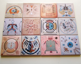 Set of 4 Navajo Sandpainting Drink Coasters Ceramic Tiles ** Choose between 12 different images ** Native Americans Indians Native American