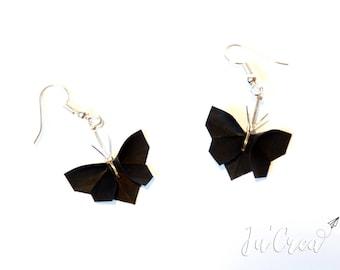 Boucles d'oreilles Origami Papillons noirs