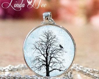 Tree Pendant with Black Bird, Tree Jewelry, Bird Jewelry, Bird Pendant, Gift for Her, Nature Jewelry, Tree Necklace, Art Pendant, Bird JBA2