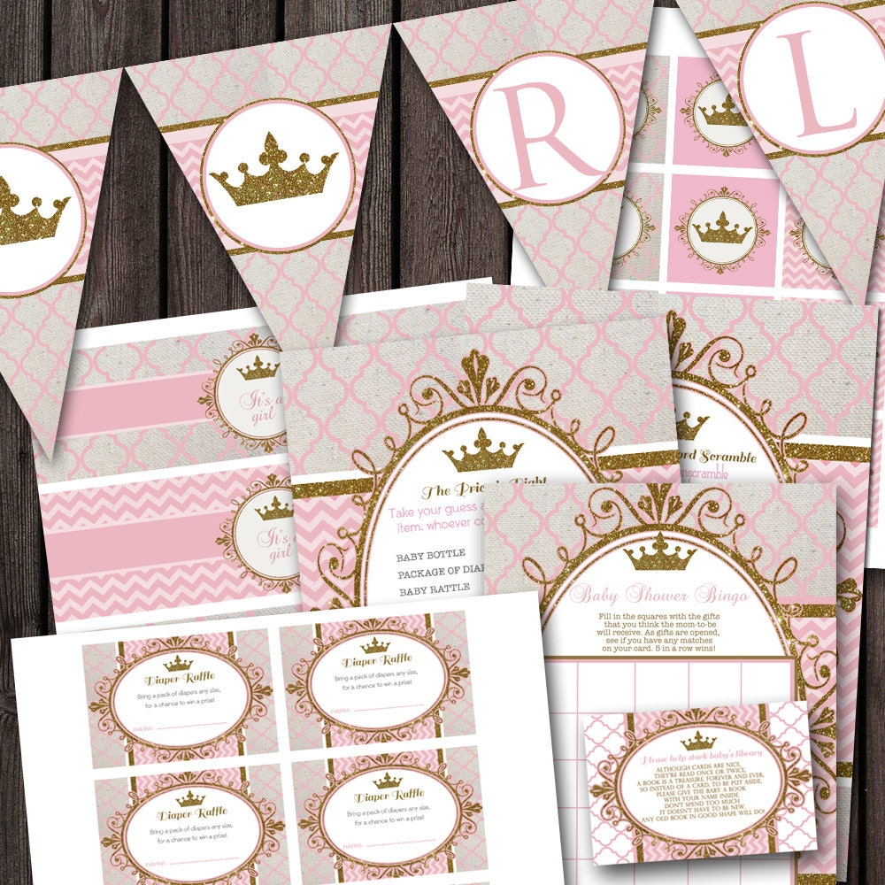 pink gold royal princess baby shower party package banner