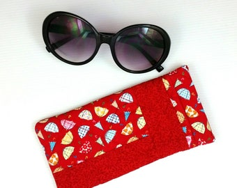 Red sunglasses case patchwork glasses case eyeglasses case glasses slip case glasses storage pouch quilted glasses case cute gift for her