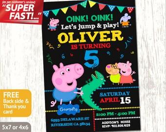 GEORGE PIG INVITE, George Pig Invitation, Peppa Pig Invitation Boy, Peppa Pig Birthday Invitation, Peppa Pig Birthday Party Invitation, v1b