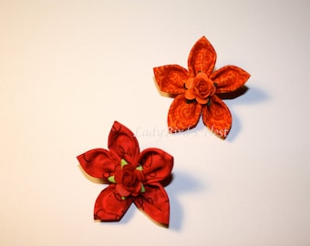 Fabric Flower Clips, Set of Two