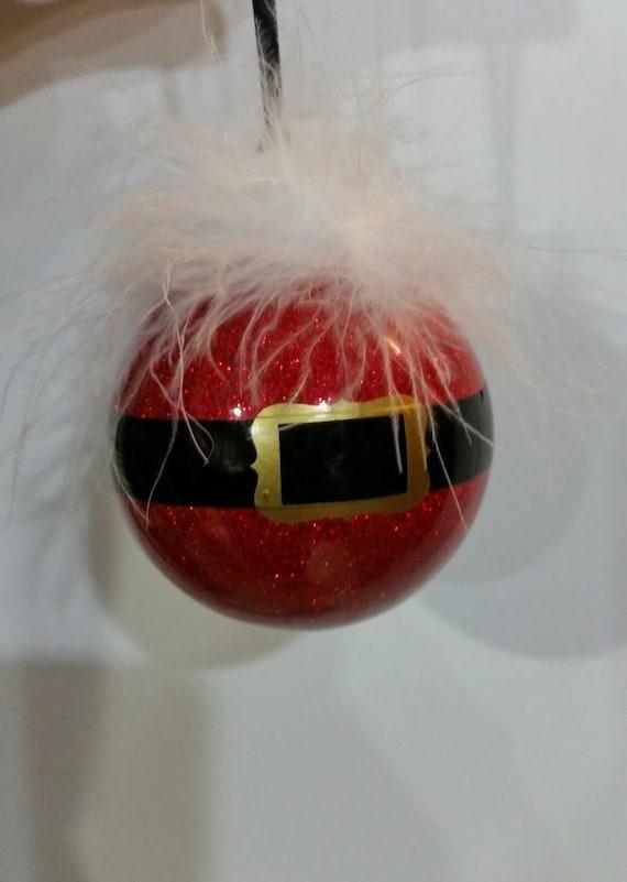 Red Glittered Santa ornament, Santa Suit Christmas ornament, Santa Clause inspired ornament, Santa belt christmas ball, Holiday tree ball