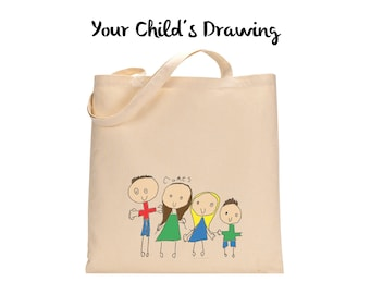 Your Kids Artwork On A Tote Bag - Children's Art Drawing Personalized Gift