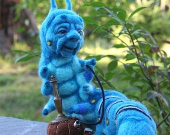 The Blue Caterpillar in Alice's Wonderland w his Hookah OOAK Needle felted Artist Doll by Stevi T.