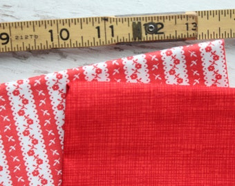 Red and White Fabric 2 FQ Fat Quarters