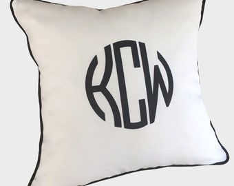 custom embroidered monogram pillow bedroom patio living room sunbrella cotton white black other colors children baby nursery