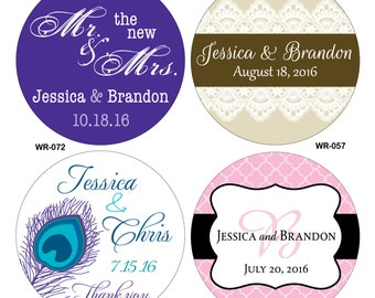 72 - 2.5 inch Custom Glossy Waterproof Wedding Stickers Labels - hundreds of designs to choose - change designs to any color or wording