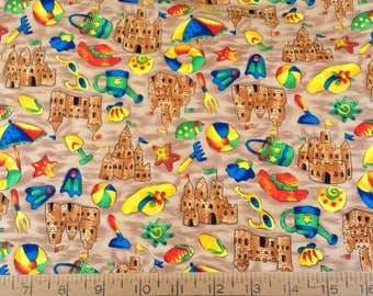 Sandcastles at the beach cotton fabric by the yard