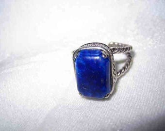 Vintage Art Deco Sterling Lapis  Ring