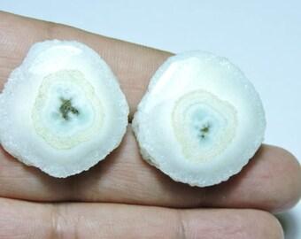 2 Pieces Beautiful Natural White Solar Quartz Round Shaped Loose Gemstone Size 30X29 MM